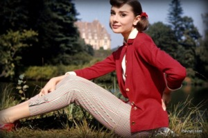A photo of Audrey Hepburn wearing pants. Just think that 100 years ago that would not have been acceptable. The other way around (men wearing a dress) is still not culturally accepted.